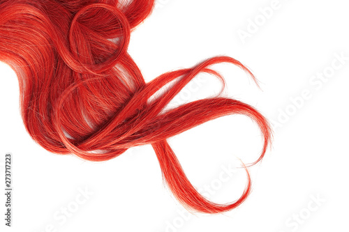 Red hair isolated on white background. Heart shape Canvas Print