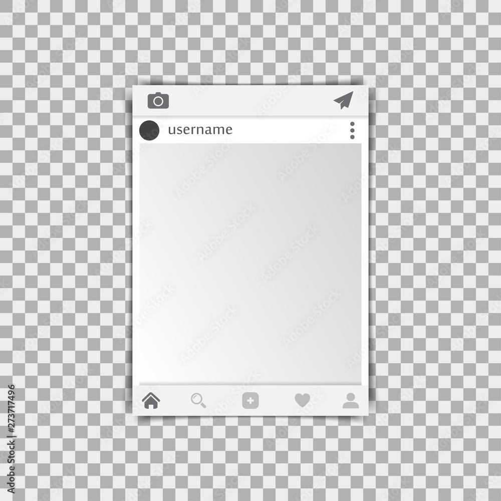 Fototapeta Photo frame on a transparent background. Vector illustration - obraz na płótnie