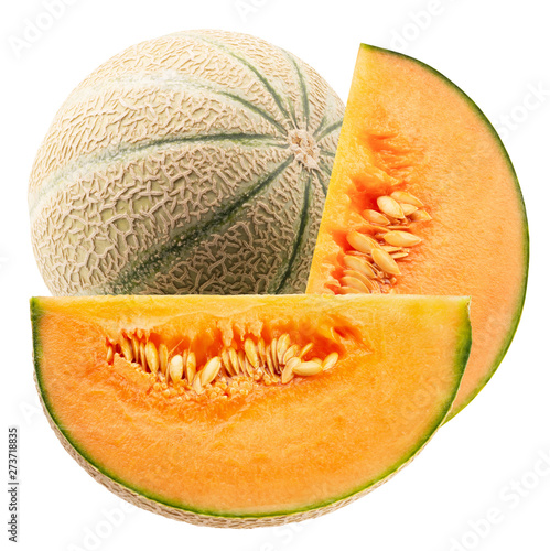 Obraz na plátně melon with slices isolated on a white background