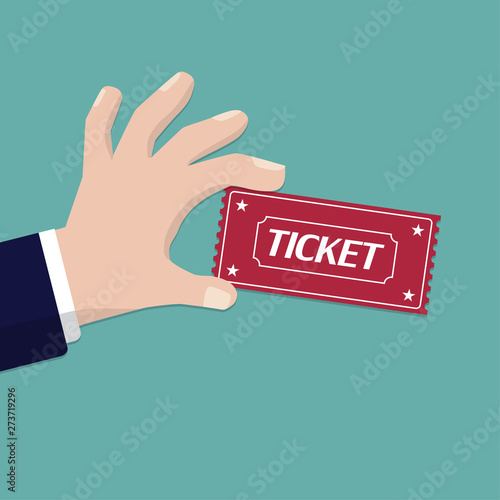 Hand holding ticket in a flat design. Vector illustration Tableau sur Toile