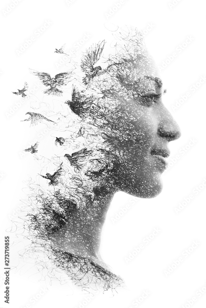 Fototapety, obrazy: Paintography. Double Exposure portrait of an elegant woman's profile combined with hand drawn pencil drawing of a flock of birds flying into the sky, black and white
