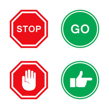 Stop And Go Signs In Red And G...
