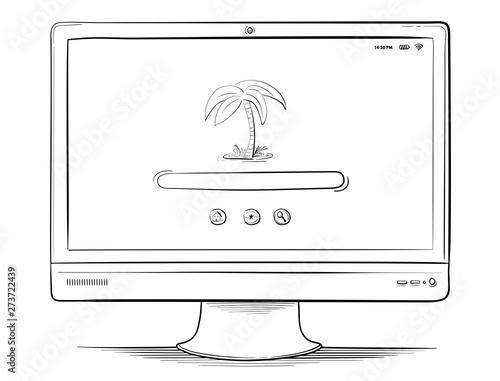 PC Monitor Vector Drawing. Canvas Print