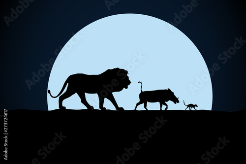 Lion, warthog and woodchuck silhouette on a moon background Canvas Print