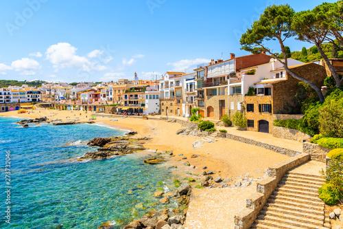Garden Poster Nice Steps to beach in port Bo of Calella de Palafrugell, Costa Brava, Catalonia, Spain