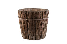 Vintage Wooden Flowerpot Isolated On White Background With Clipping Path
