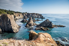 View Of Rocky Shoreline And Bl...