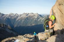 Climber Scrambling On Douglas Peak, British Columbia.