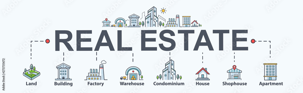 Fototapeta Real estate banner web icon for property and investment. Land, building, factory, warehouse, condominium, shophouse and apartment. Minimal vector infographic.