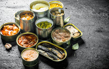 Canned Food In Various Open Ca...