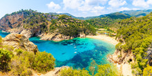 Panoramic View Of Cala Giverola, Most Beautiful Beach On Costa Brava, Spain
