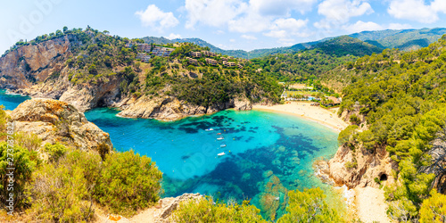 Fotografiet Panoramic view of Cala Giverola, most beautiful beach on Costa Brava, Spain