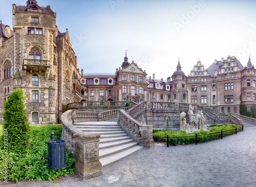 Obraz na plátně WROCLAW, POLAND - JUNE 15, 2019: Castle in Moszna near Opole, Poland