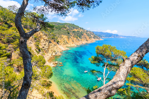 Vászonkép  Boat in beautiful sea bay near Cala Giverola, most beautiful beach on Costa Brav