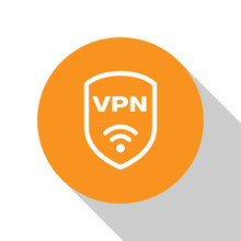 White Shield With VPN And Wifi Wireless Internet Network Symbol Icon Isolated On White Background. VPN Protect Safety Concept. Orange Circle Button. Vector Illustration