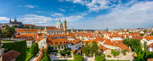 Panorama View On Prague From Vrtba Garden (Vrtbovska Zahrada). Famous UNESCO Baroque Garden In Lesser Town Of Prague - Capital City Of The Czech Republic (popular Travel Destination In Europe)