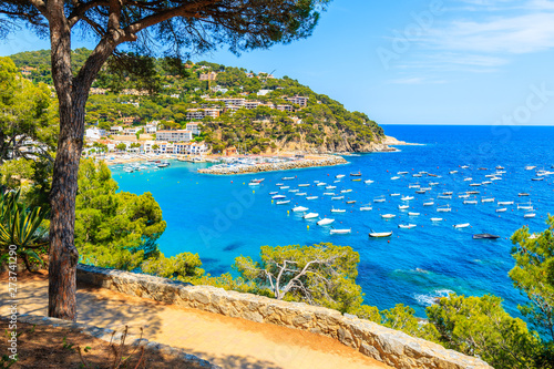 Foto auf Leinwand Barcelona Viewpoint over beautiful bay with boats on sea near Llafranc village, Costa Brava, Spain