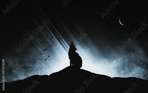 Naklejki wilk  a-silhouette-of-a-wolf-howling-at-the-moon-on-a-dark-hill-with-a-light-source-in-the-background