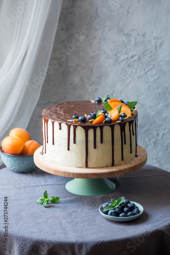 Fotografie, Obraz  Homemade layered chiffon cake with caramel and apricot jelly, with chocolate dec