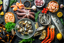 Healthy Diet Food. A Variety Of Fresh Seafood.