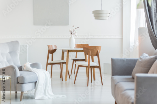 Adobe Stock & Grey armchair and sofa in trendy living room with white wall - Buy ...