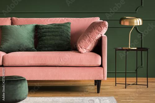 Fotografie, Obraz  Powder pink sofa and golden lamp in a dark green living room interior