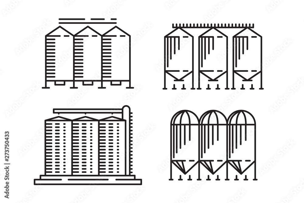 Fototapety, obrazy: Silo outline design concept from Agriculture, Simple granary line art element