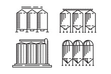 Silo Outline Design Concept From Agriculture, Simple Granary Line Art Element