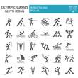 Olympic games glyph icon set, sport symbols collection, vector sketches, logo illustrations, sportsman signs solid pictograms package isolated on white background.