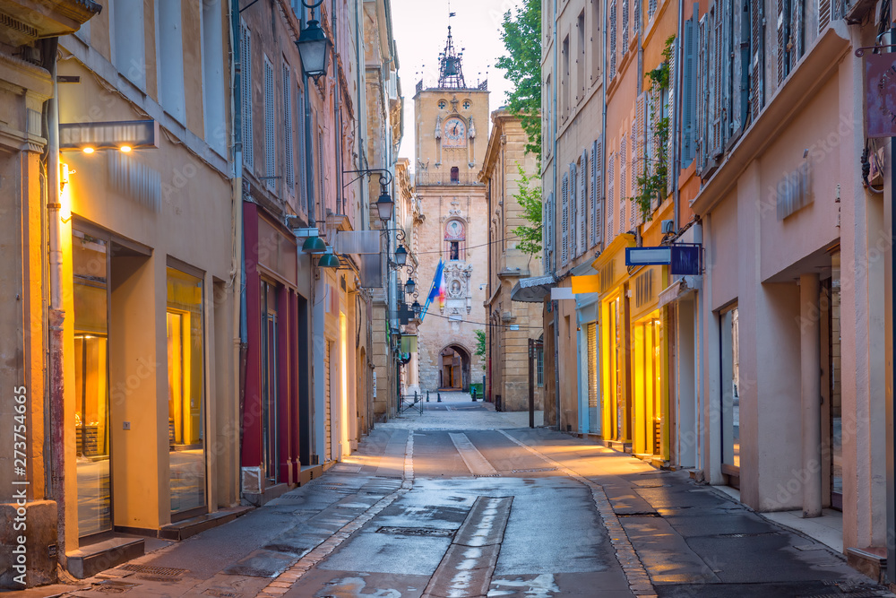 Fototapety, obrazy: Town Hall Clock Tower in Aix-en-Provence, France