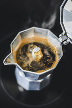 Moka Coffee Cooking In Pot On The Stove