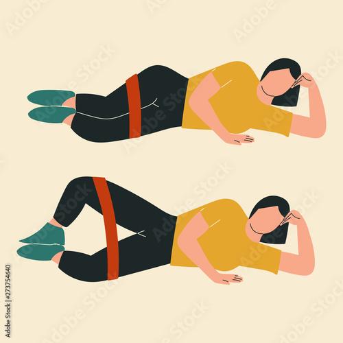 Vászonkép  Woman doing clamshells