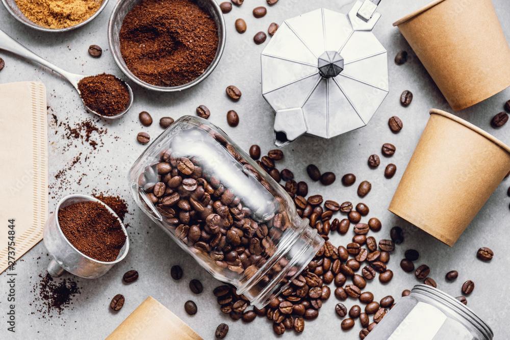 Fototapeta Ingredients for making coffee flat lay