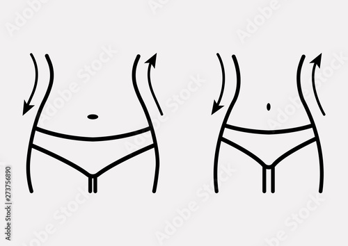 Obraz Fat and slim woman figure, before and after weight loss. Female body silhouette. Women waist, weight loss, diet, waistline line icon. Vector illustration - fototapety do salonu