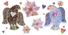 Mosaic Bird And Mosaic Flowers...