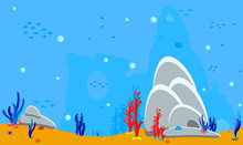 Ocean Background. Panorama Landscape Sea Bottom. Game Assets For Stickers Or Web Applications. Silhouette Fish, Algae And Coral, Shells, Rocks And Cave. Backdrop For Baby Birthday Vector Illustration
