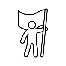 Man With Flag Icon Outline. Revolution Concept