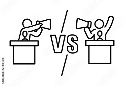 Photo Candidate dispute versus opposition with megaphone concept debate banner outline