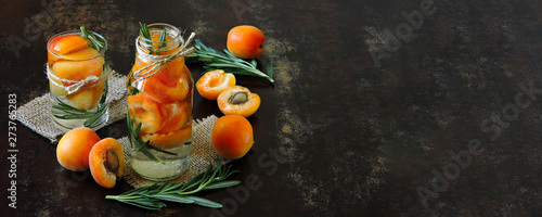 Fotografie, Tablou Healthy detox drink apricot with rosemary