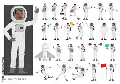 Fotografija Set of Astronaut people working character vector design