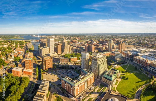 Fotografía  Aerial panorama of Providence skyline on a late afternoon