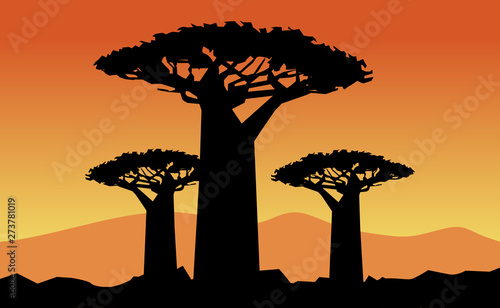 baobab tree on wpap popart style Wallpaper Mural