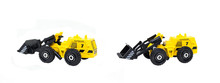 Group Of Yellow Construction Truck Toys Isolated On White Background.