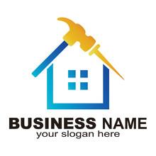 Logo Of Home Renovation, Hammer And Nail House Logo Template - Vector