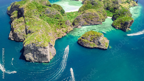 Aerial drone view of tropical Ko Phi Phi island, beaches and boats in blue clear Wallpaper Mural