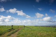 A Farm Gate On A Hill In Rural...