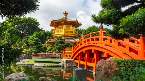Canvas Prints Garden The Golden Pavilion in Nan Lian Garden, Hong Kong