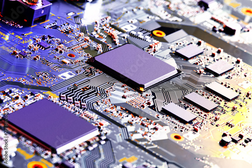 Fotografiet  Electronic circuit board close up.