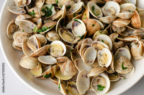 Traditional italian seafood dish with steamed clams Canvas Print