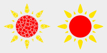 Pixel And Flat Sun Icons. Vector Mosaic Of Sun Constructed Of Scattered Dots And Round Elements.